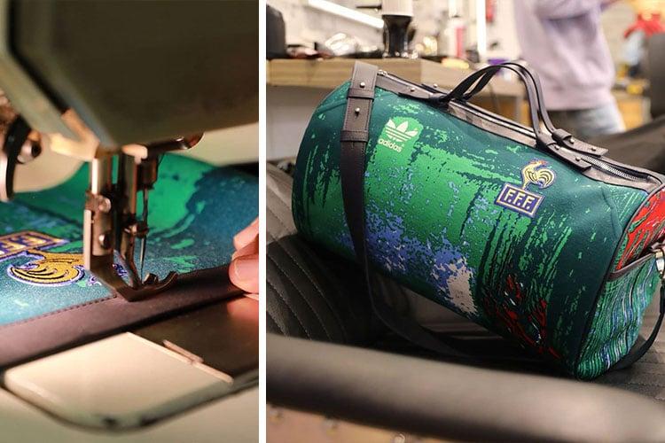 Franck Joubert transforme des vieux maillots de sport en sacs de luxe
