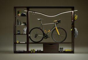 rangement vélo dans meuble design