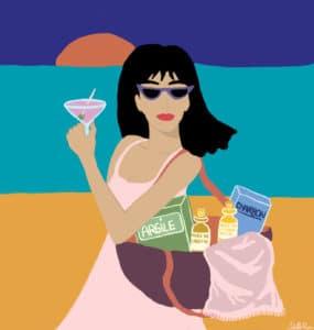 illustration Juliette Riou jeune fille qui part à la plage cet été